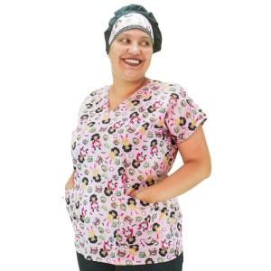 Blusa Scrubs Modelo Bata Hospitalar Estampa Super Heroínas - Rosa