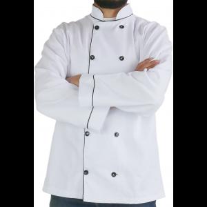 Dólmã Profissional em OXFORD unissex Manga Longa - Branco com botões Pretos
