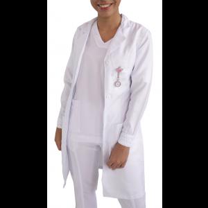 Jaleco Feminino Modelado Gola Esporte e Punhos com Renda - Branco