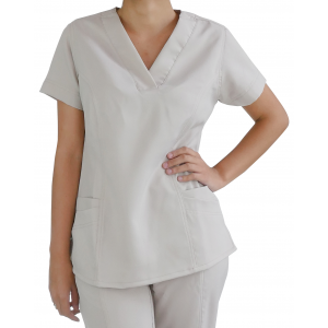 Scrubs Blusa Decote V Manga Curta - Dove (Bege) - Do número 40 ao 50