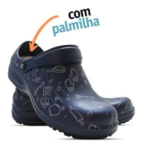 Babuche Profissional Soft Works Estampado Com Palmilha - Cozinha - Azul Marinho