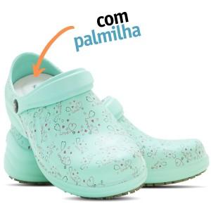 Babuche Profissional Soft Works Estampado Com Palmilha - Esteto Love - Verde Hospitalar
