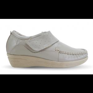 Sapato em Couro Salto Anabela REF 084 - Bege