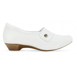 Sapato em Couro Salto Mini Neftali 38017 - Branco - Pin Esteto Love