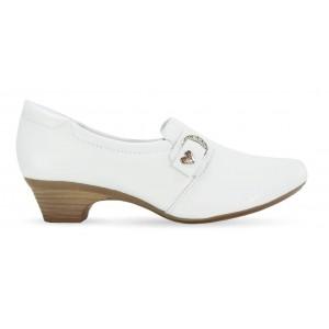 Sapato em Couro Salto Mini Neftali 40005 - Branco - Pin Eletro Coração