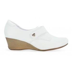 Sapato em Couro Salto Anabela Neftali 41005 - Branco - Pin Eletro Coração