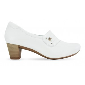 Sapato em Couro Salto Quadrado Neftali 47005 - Branco - Pin Esteto Love