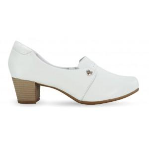 Sapato em Couro Salto Quadrado Neftali 52005 - Branco - Pin Eletro Coração