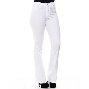 Calça Jeans Feminina Sawary Flare Hot Pants - Branca